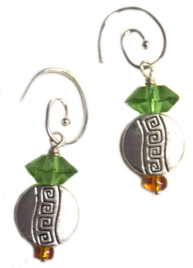 Picture of circle droplet charm earrings