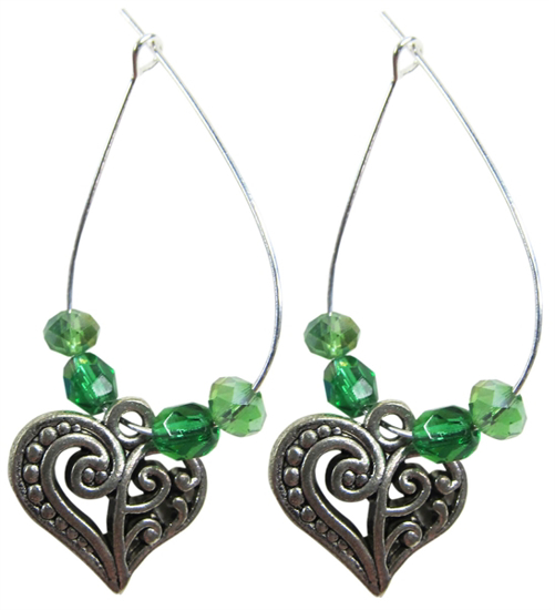 Picture of heart loop charm earrings