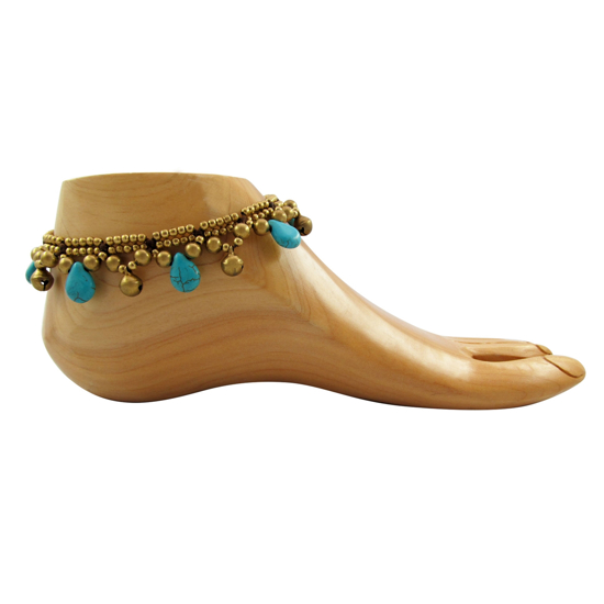 Picture of turquoise teardrop anklet