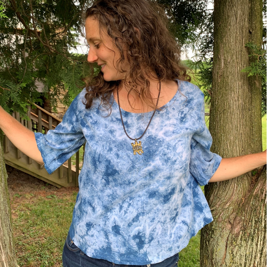 Picture of cotton blouse 3/4 sleeve indigo