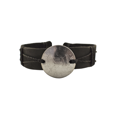 Picture of leather coin slipknot bracelet