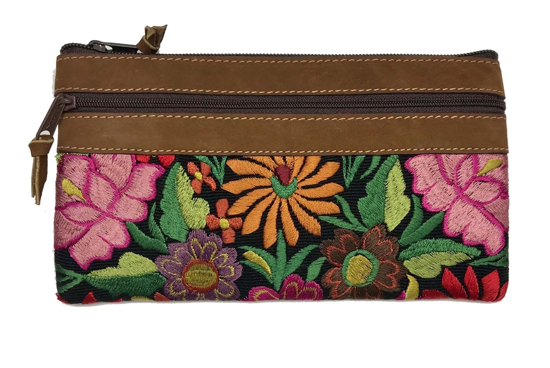 Picture of wild blossom leather zip pouch