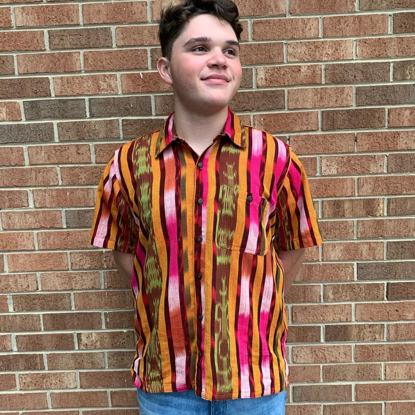Picture of short sleeve ikat shirt