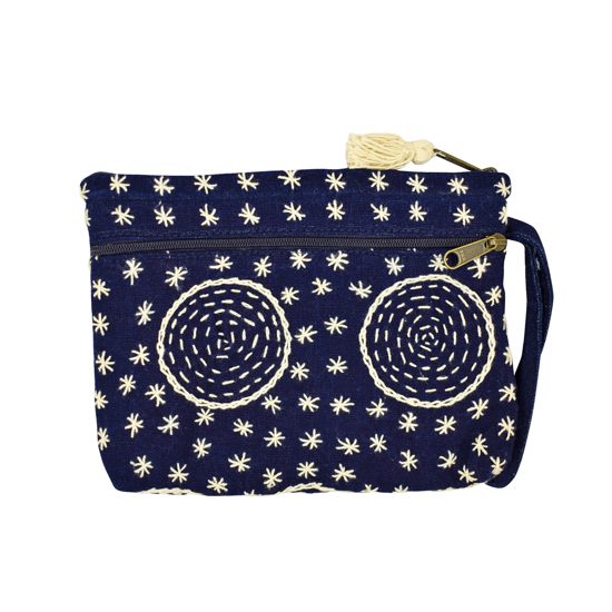 Picture of indigo two-zip wristlet